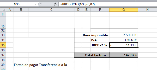 impuestos-factura-excel | Just EXW