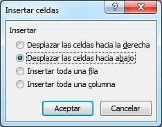 Añadir celdas en Excel
