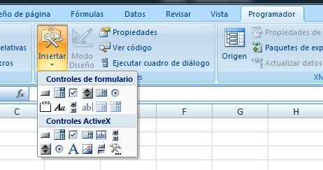 Insertar controles formulario Excel