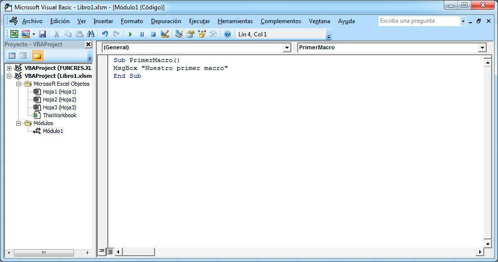 Crear macros en Excel con Visual Basic