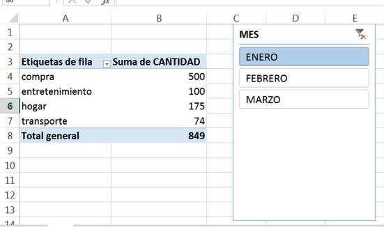 insertar slicers a una tabla dinámica de Excel