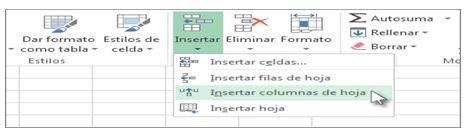 insertar una columna en Excel