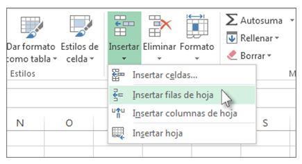 insertar una fila en Excel