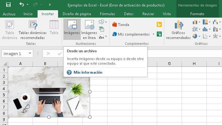 pasos para añadir imágenes en Excel