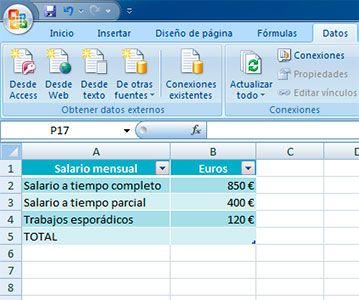 Introducir datos para sumar en Excel