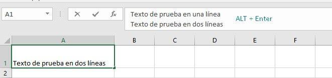 Añadir líneas de párrafo en Excel