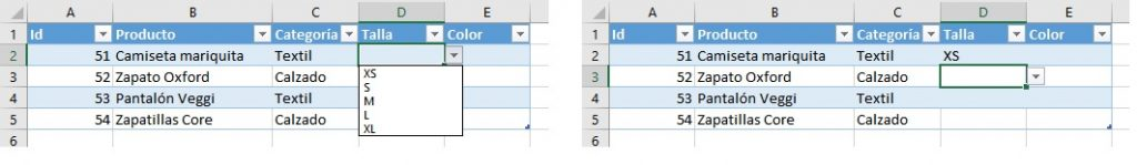 Lista condicionada en Excel