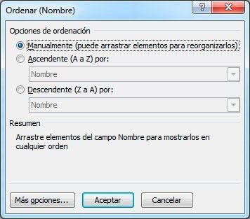 Elegir más opciones de ordenación en Excel
