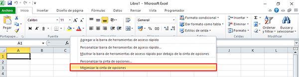 Formas de Minimizar la barra de opciones de Excel