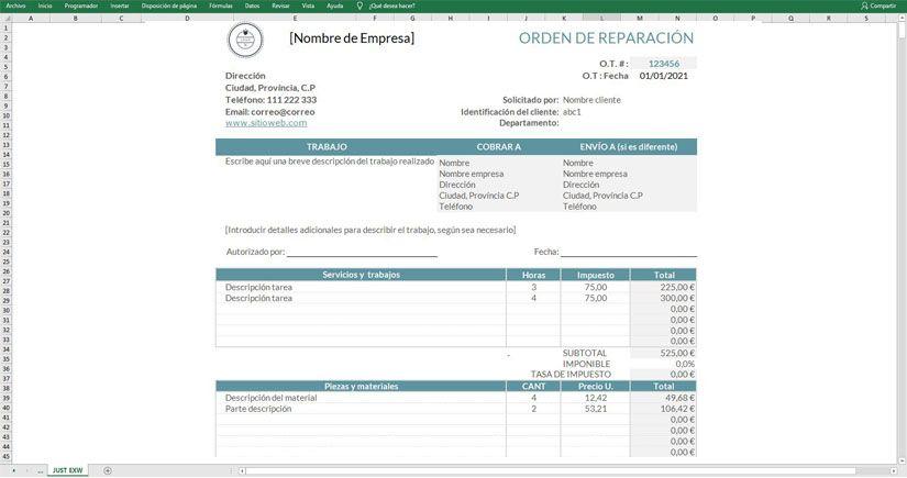 plantilla Excel servicio reparaciones descarga gratis