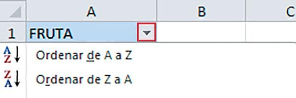 Ordenar casillas de Excel mediante filtros