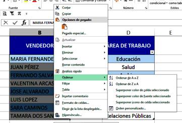 ordenar datos en Excel con el teclado