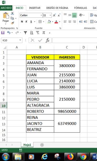 ordenar datos en Excel cuando hay celdas combinadas