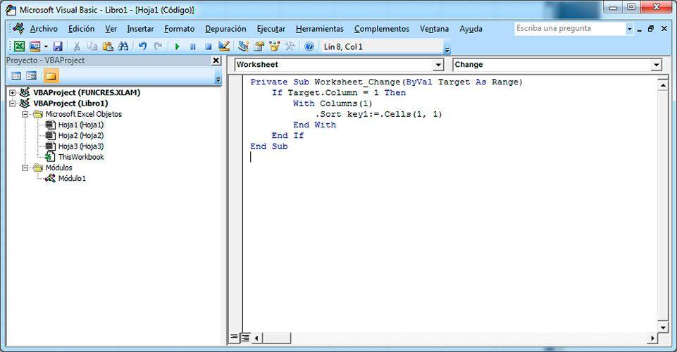 Cómo hacer la ordenación de datos en Excel con Visual Basic