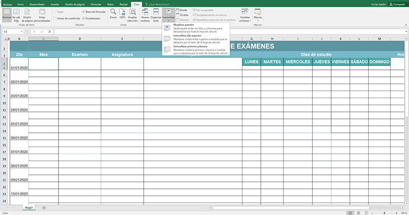 Cómo inmovilizar varias filas y columnas a la vez en Excel
