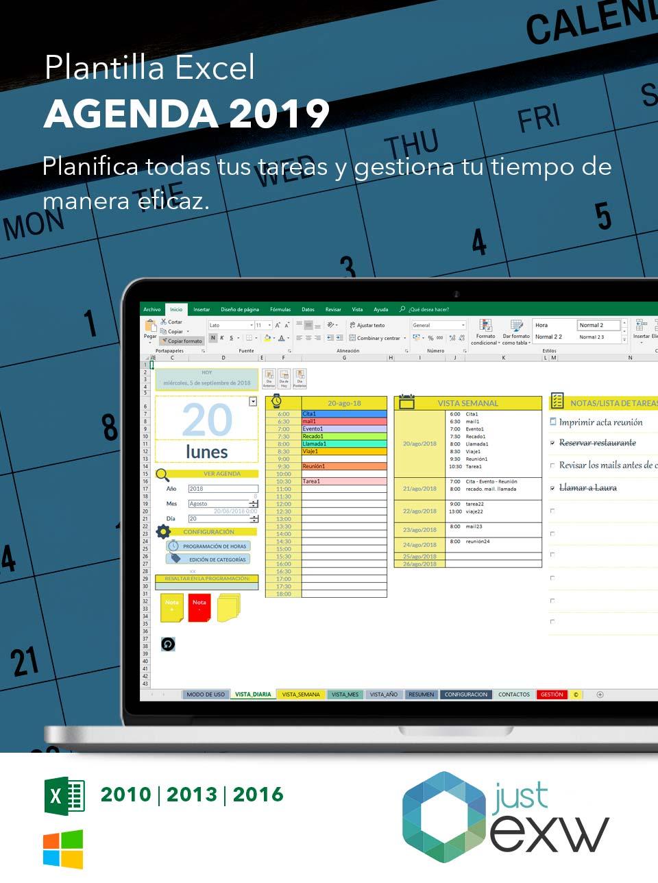 Plantilla de Calendario 2018 en Excel | Plantilla para descargar