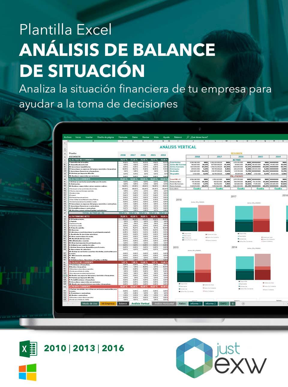 Plantilla de Excel análisis balance general