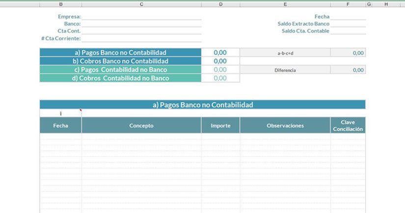 Modelo de conciliación bancaria en Excel