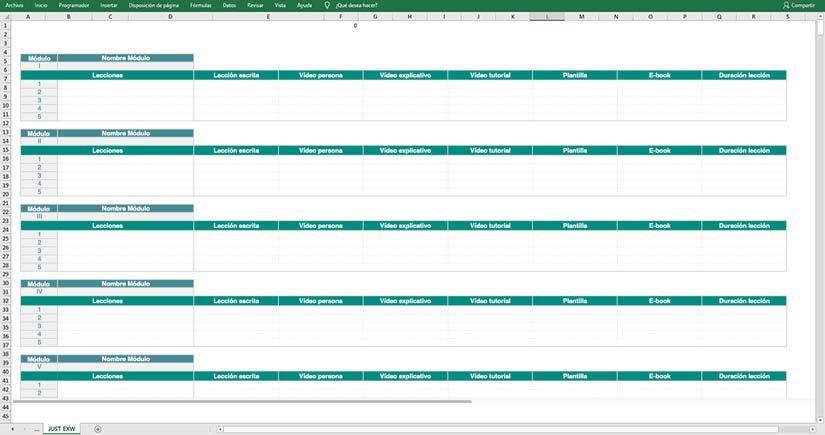 Crea el temario de un curso online con Excel