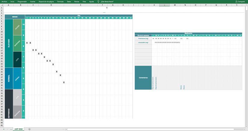 Plantilla de Excel gratuta de gráfico de estado de humor