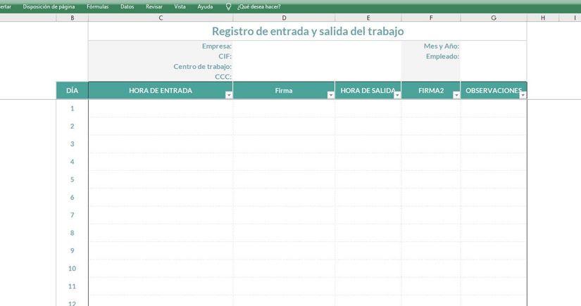 Registro jornada laboral en Excel