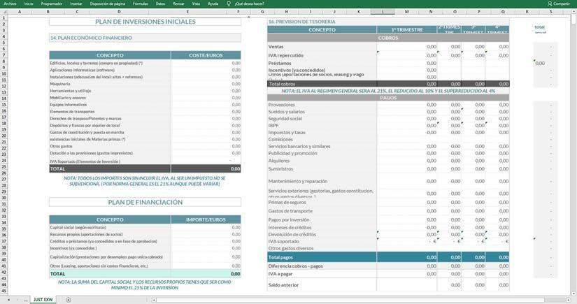 Modelo de plan de inversión en Excel