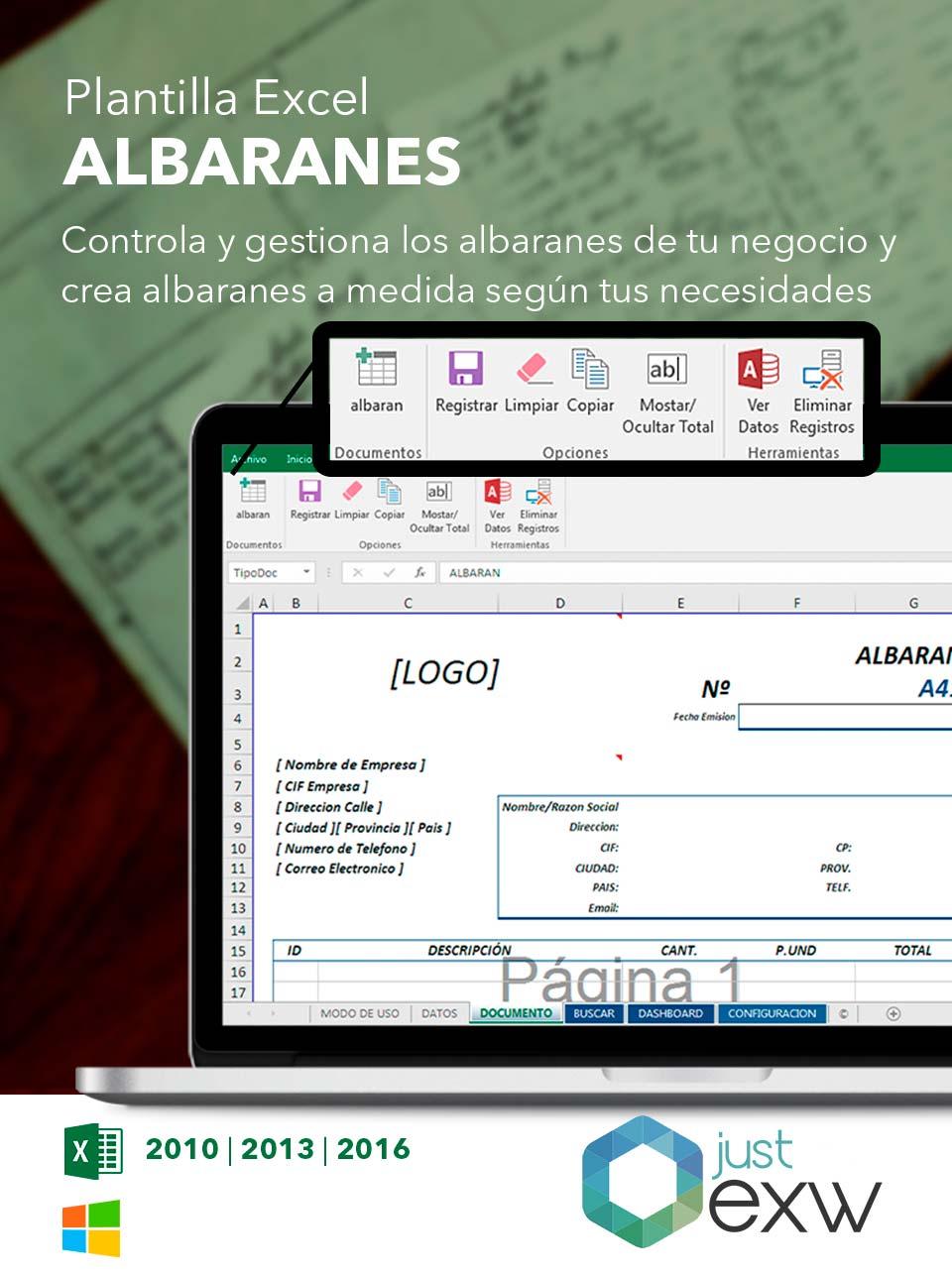 Plantilla de Excel de albaranes