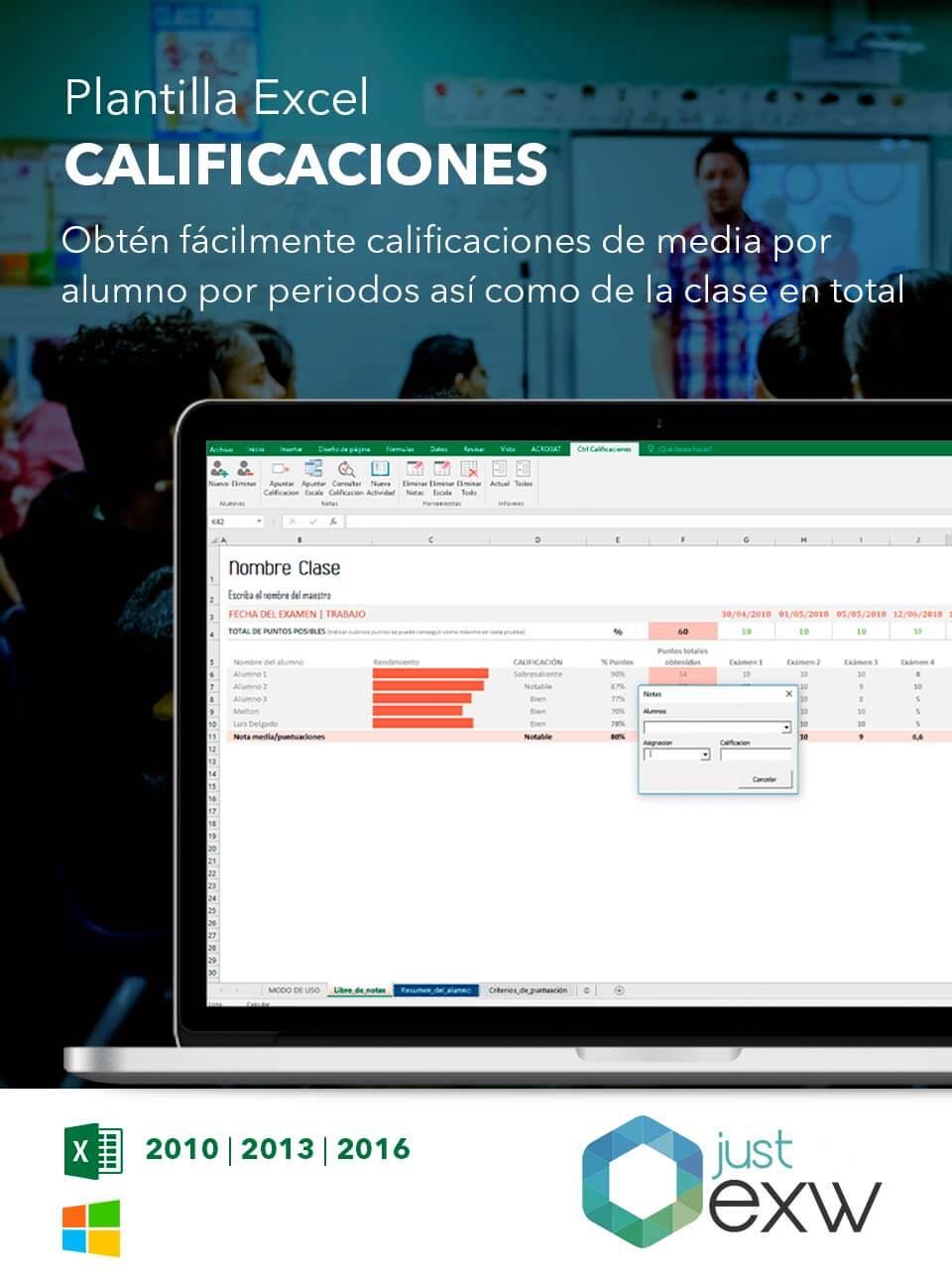 Plantilla de Excel de notas académica