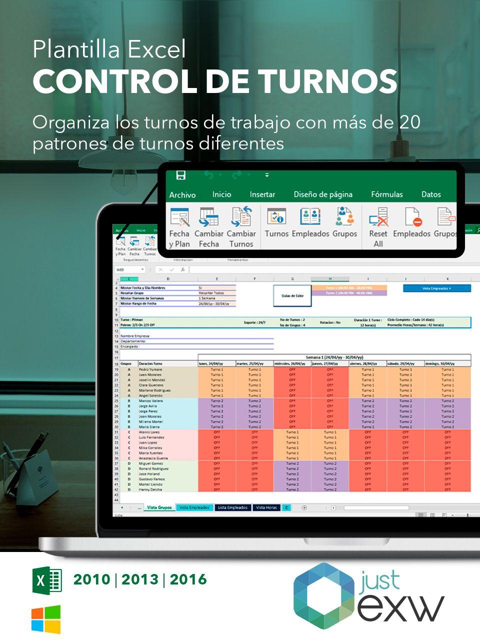 Plantilla Excel de turnos de trabajo