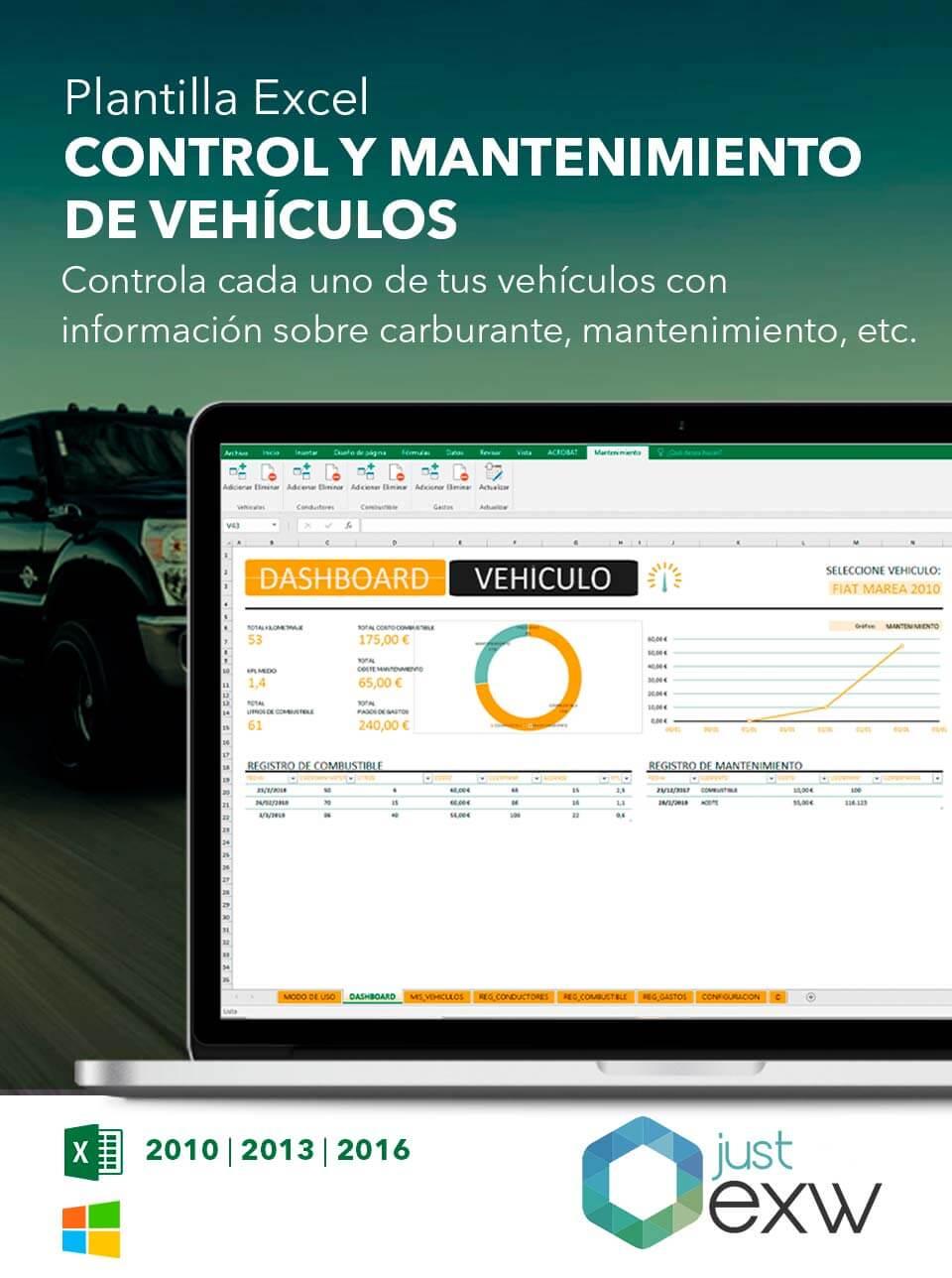 Plantilla de Mantenimiento de vehículos en Excel | Plantilla para ...