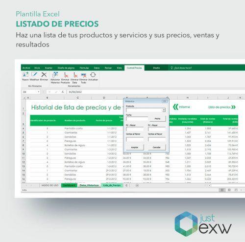 Hacer un listado de precios con Excel