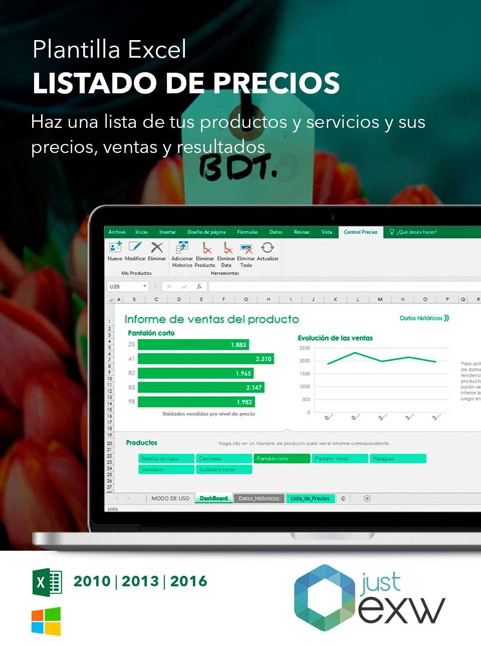 Plantilla de lista de precios en Excel | Plantilla para descargar