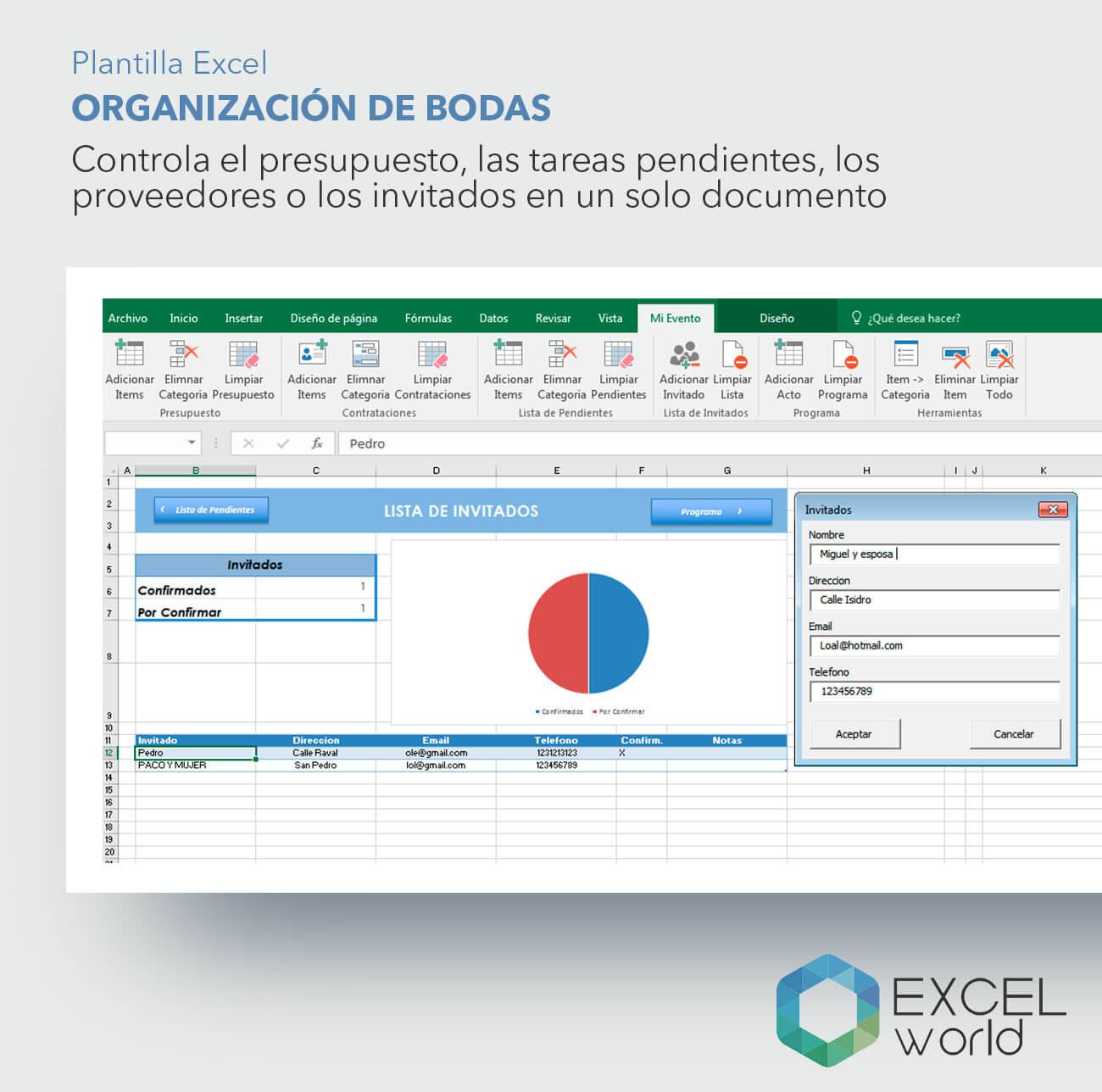 Organizar bodas con Excel