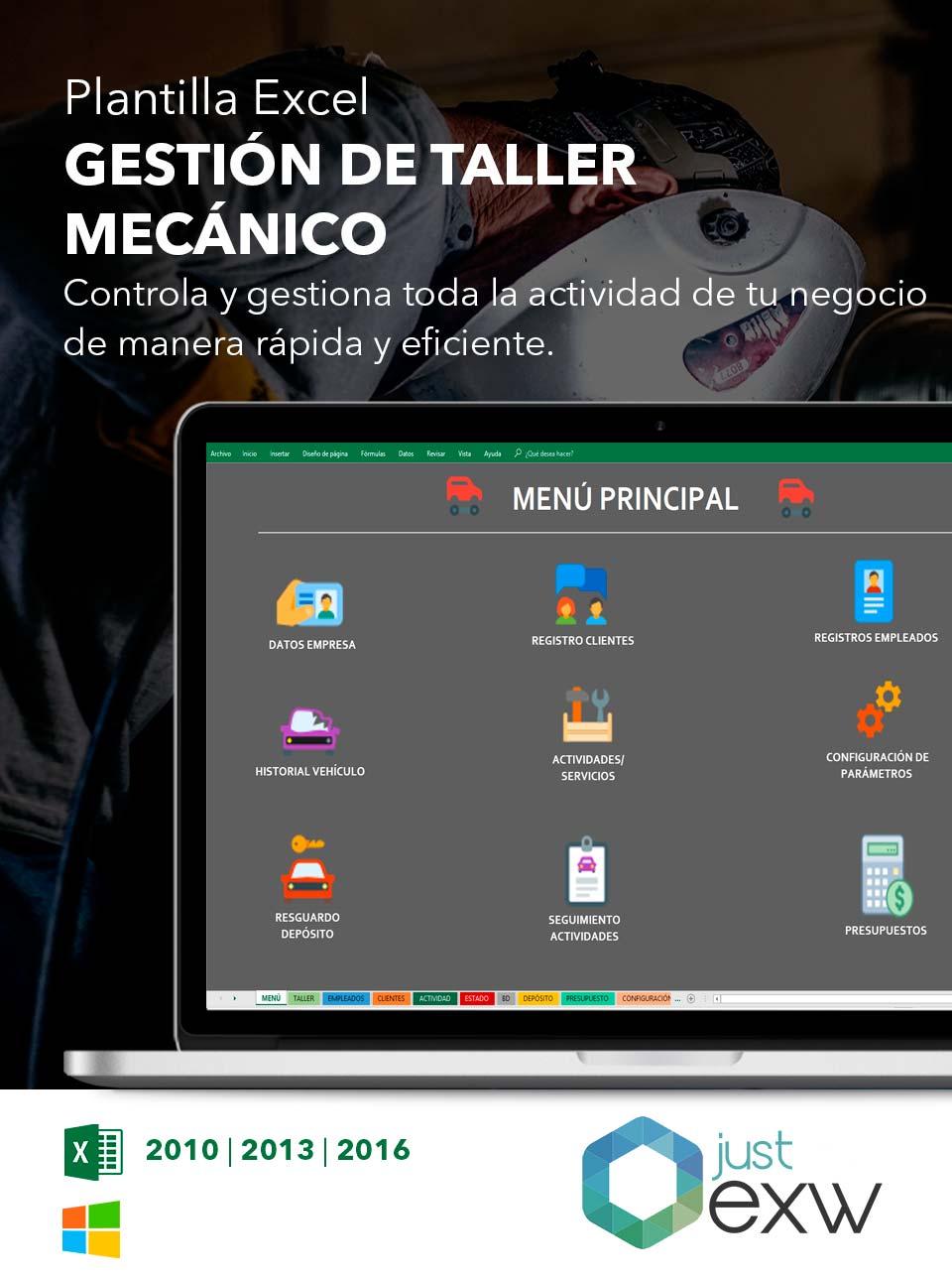 Plantilla de Gestión de taller mecánico en Excel | Plantilla para ...