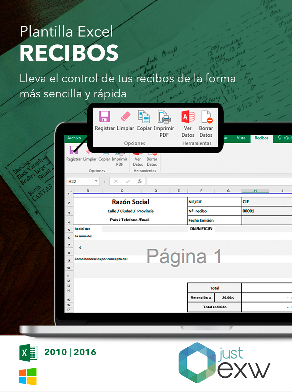 Plantilla de recibos en Excel | Plantilla para descargar
