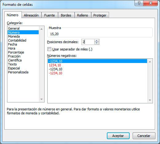 Posición de decimales en Excel