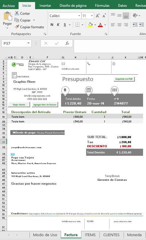 Personalizar el presupuesto con Excel