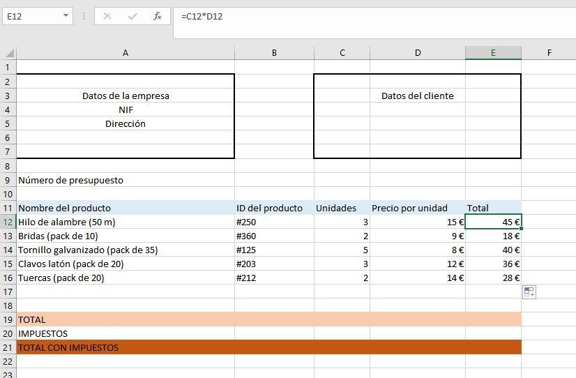 Presupuestos con Excel