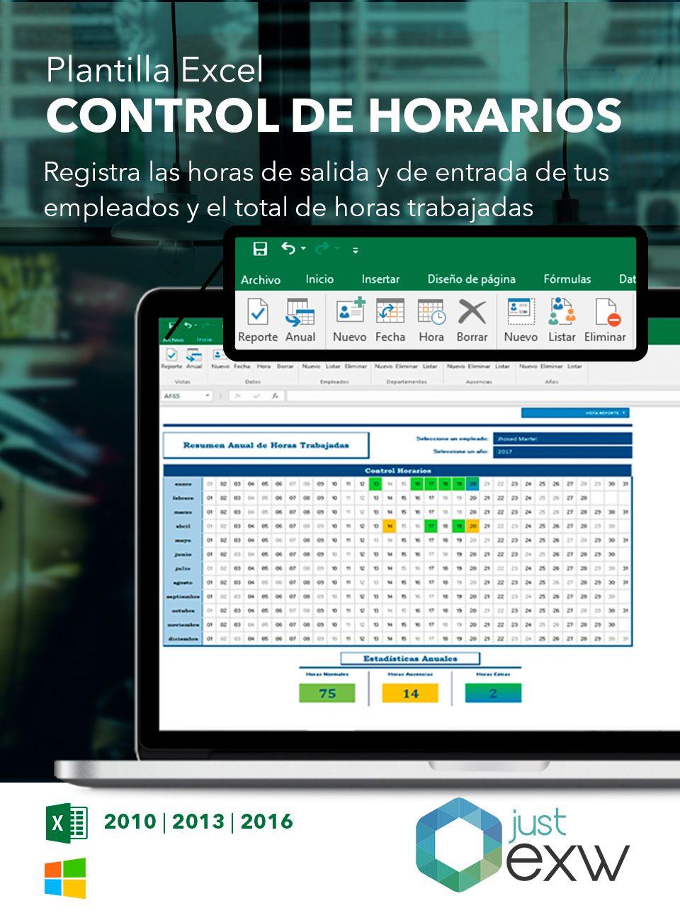 Plantilla de control de horarios en Excel | Plantilla RRHH para ...