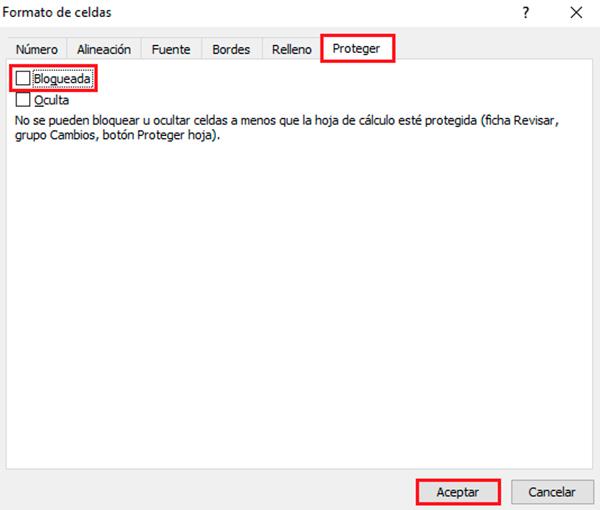 Bloquear casillas en Excel