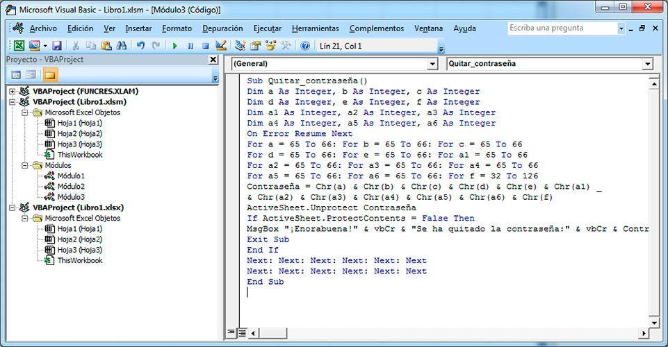 Eliminar la contraseña de Excel con Visual Basic