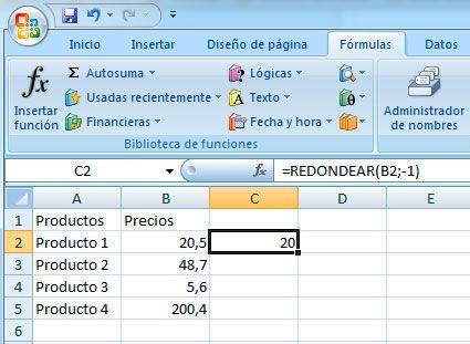 Redondear en Excel