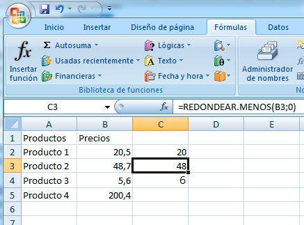 Redondear hacia abajo en Excel