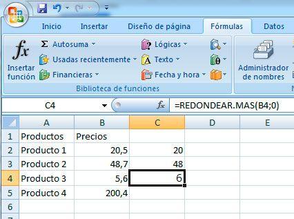 Redondear hacia arriba en Excel