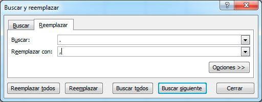 Cambiar puntos por comas en Excel