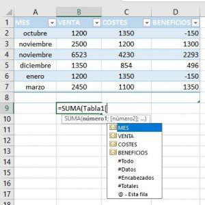 Como usar las referencias estructuradas en Excel