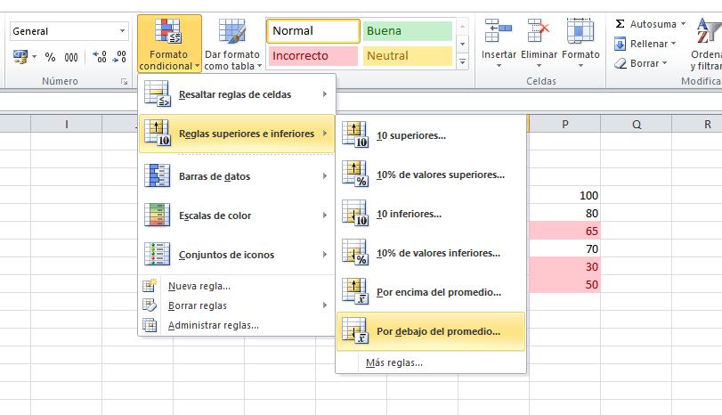 Reglas superiores e inferiores en Excel
