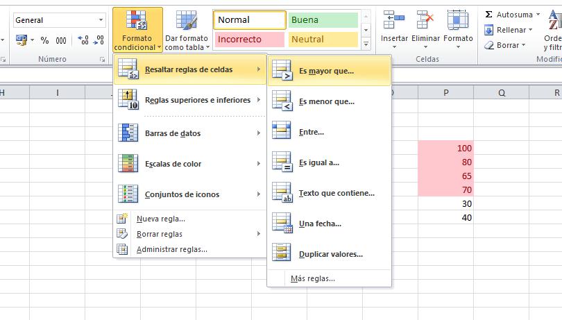 Resaltar reglas de celdas en Excel