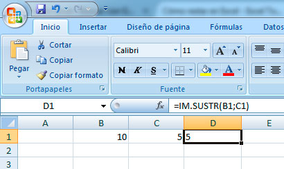 Restar en Excel con fórmula