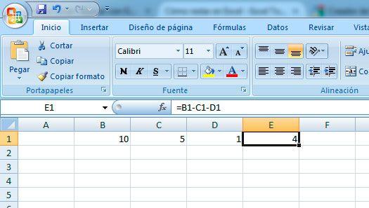 Restar en Excel con el operador aritmético